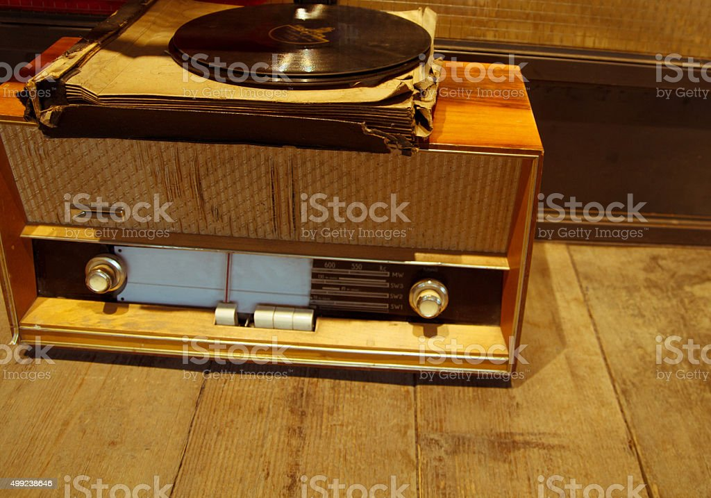 Old retro radio with vinyl records stock photo