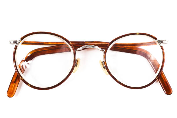 Old retro reading glasses stock photo