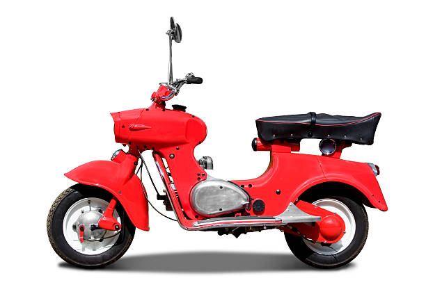 Old retro red italian scooter on white background with path stock photo