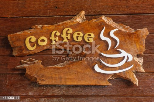 istock Old retro sign with the text coffee shop. 474090117