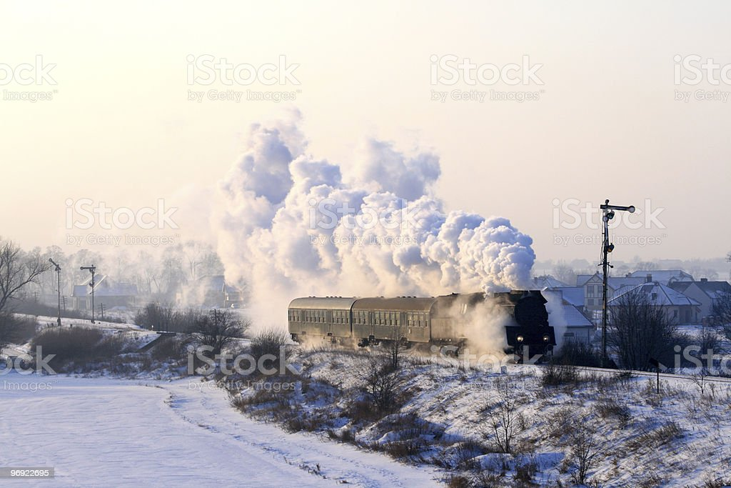 Old retro steam train royalty-free stock photo