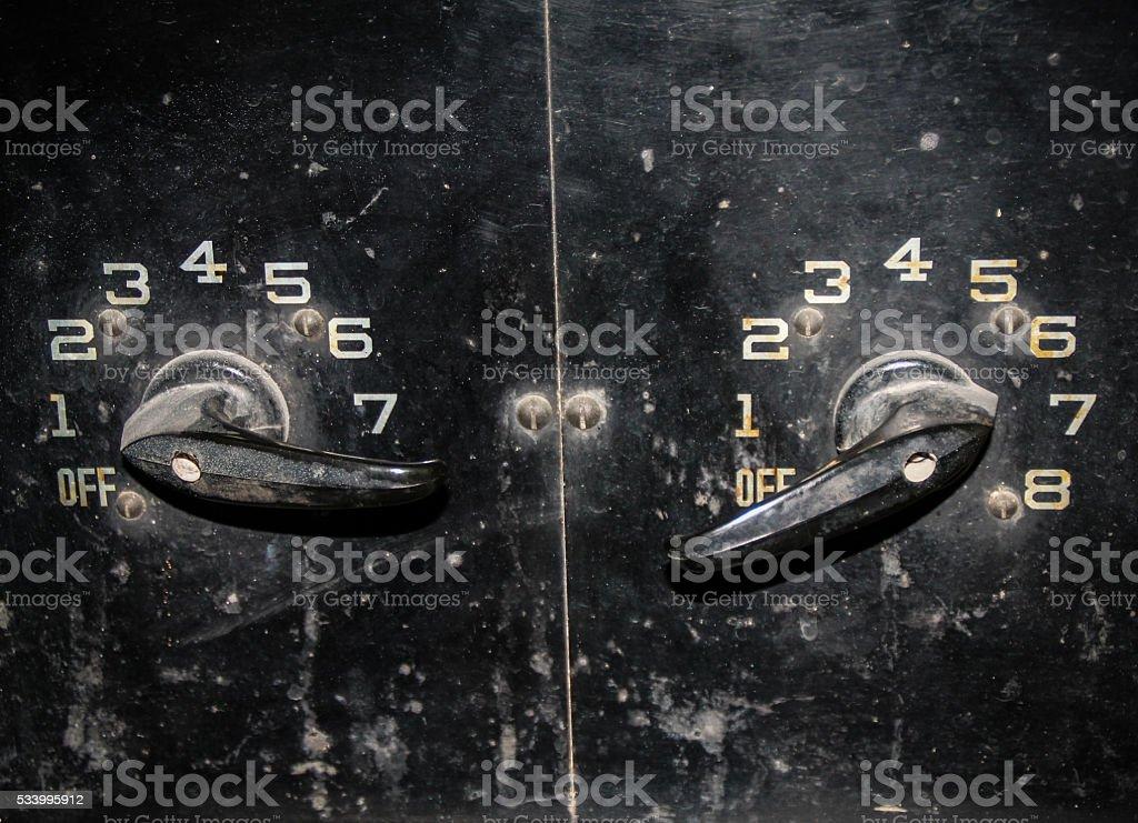 Old retro style dials stock photo