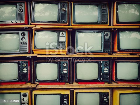 istock Old retro television and blank screen display 691102508