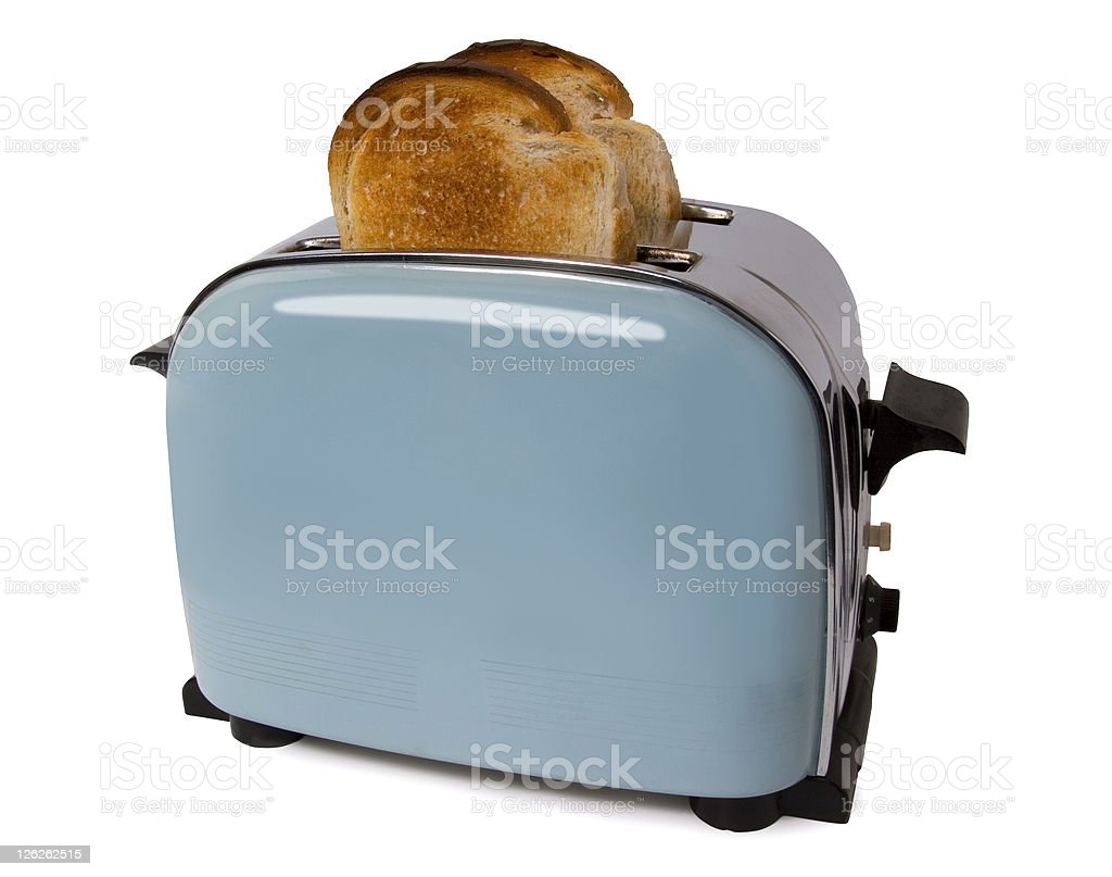 Old retro toaster with toast in on white with path stock photo