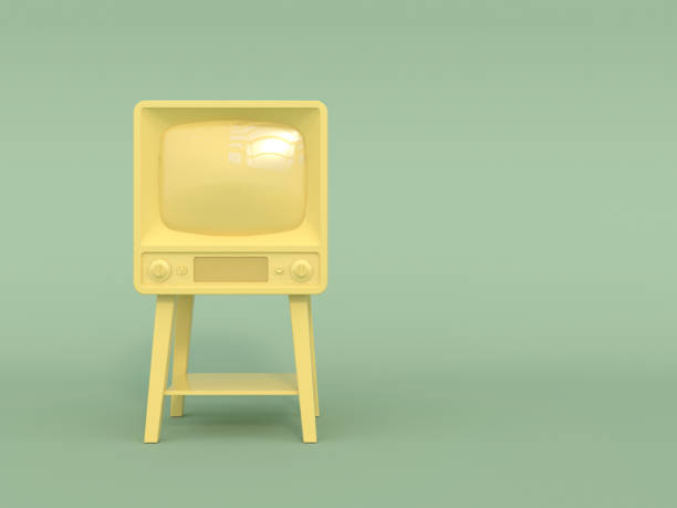 vieux téléviseur rétro en monochrome couleur jaune sur fond vert clair. couleurs pastel. copiez l'espace. style cartoon. - monochrome image teintée photos et images de collection
