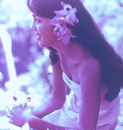 Old Retro Vintage Style Positive Film scan, Hawaiian Hula Dancer in Hawaii, USA.