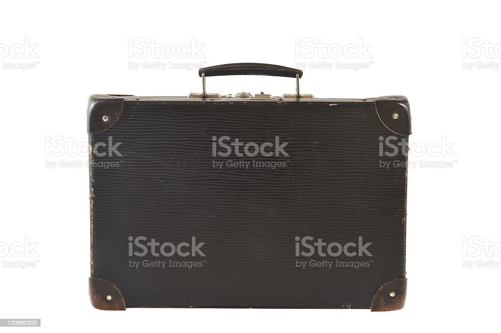Old retro-styled travel suitcase isolated on white background royalty-free stock photo