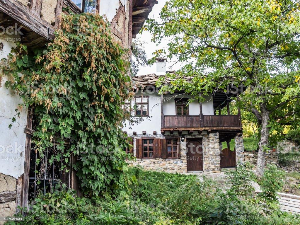 Old Revival Bulgarian houses at Baba Stana Neighborhood, Oreshak, Bulgaria stock photo