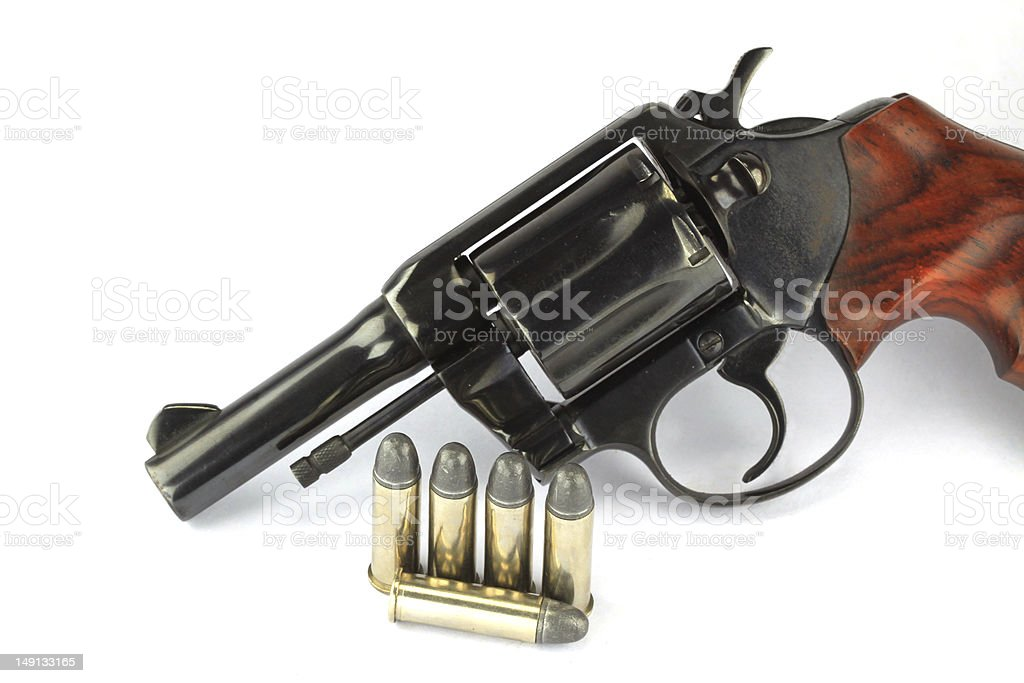 Old revolver with bullets royalty-free stock photo