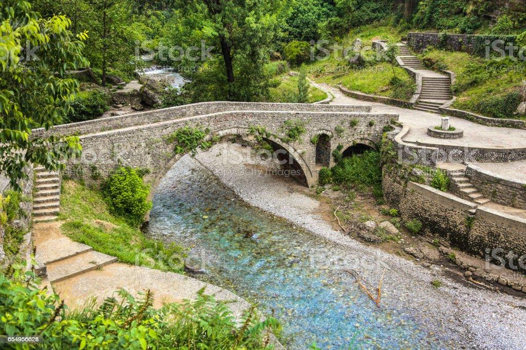 Old Ribnica River Bridge in Podgorica stock photo