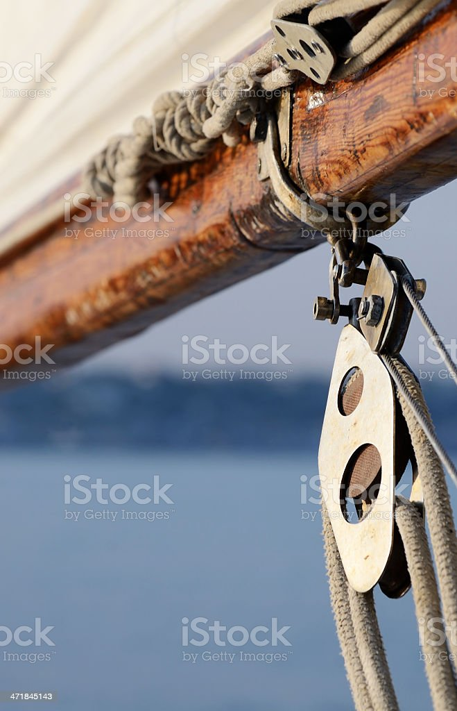 Old rigging on wooden sailing boat royalty-free stock photo