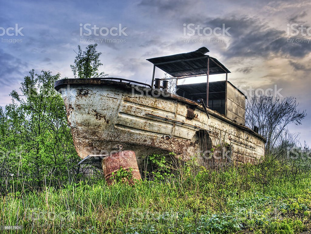 Old river boat royalty-free stock photo