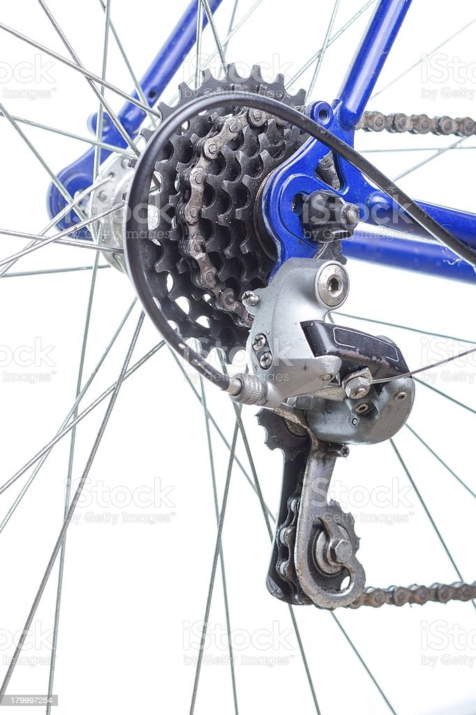 늙음 로드쇼의 자전거 후면 허브, sprockets 및 디레일러변속기. royalty-free 스톡 사진