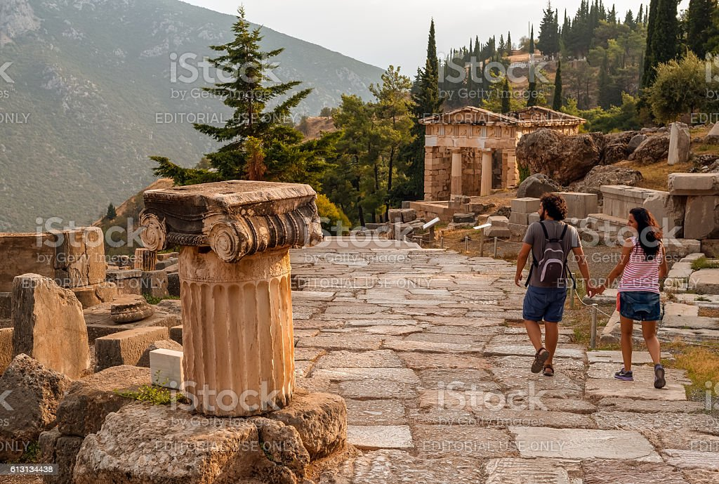 Old road in Delphi on Mount Parnassus, Greece stock photo