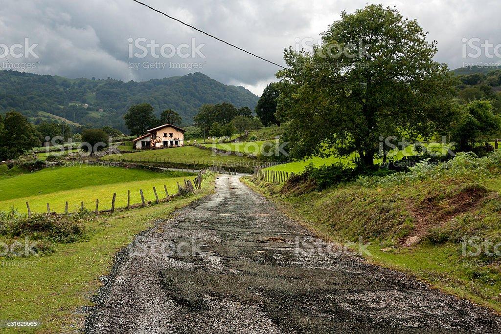 Antigua carretera viaje a motos de navarra - foto de stock