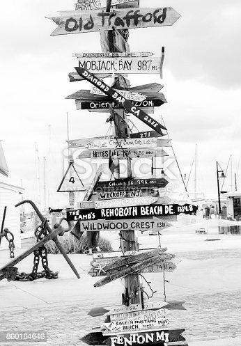 Vintage road sign, Key West, Florida, USA. Black and White.