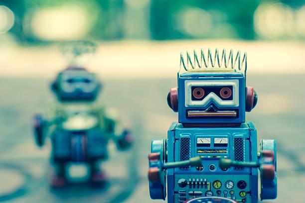 Old robot toy, vintage color style. – Foto