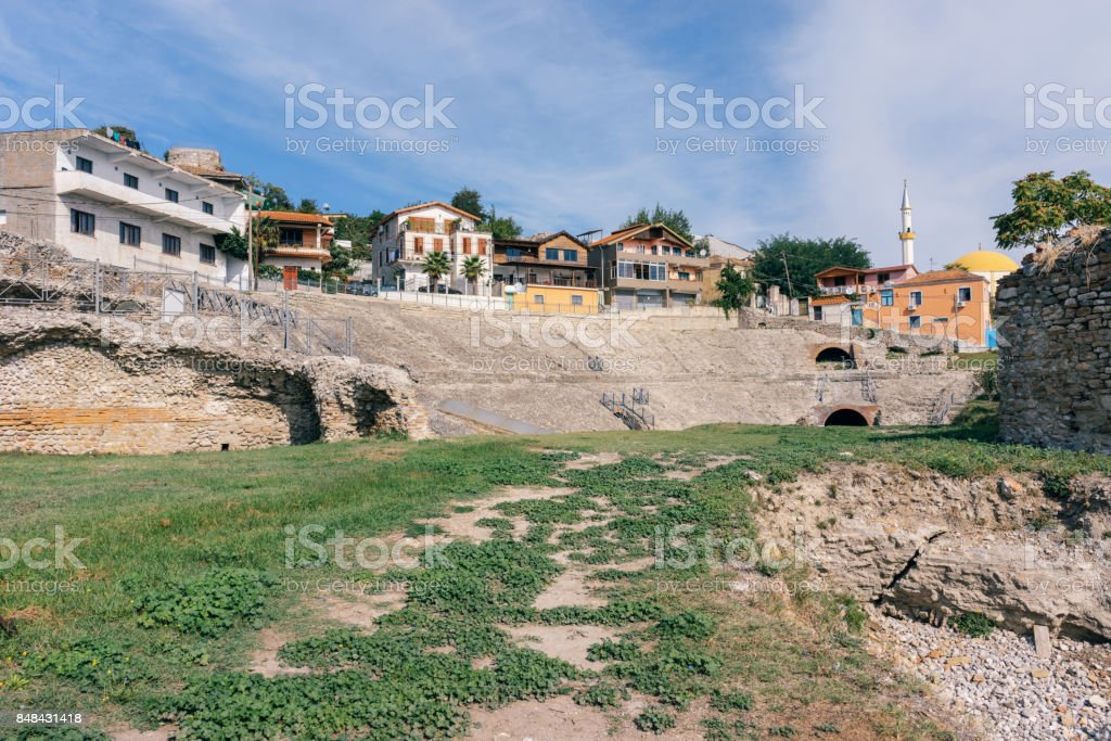 Old roman amphitheater in Durres, Albania stock photo