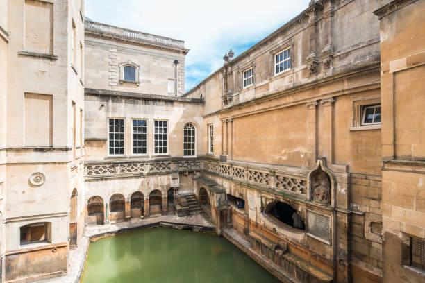 Old Roman Bath in Bath Spa England Bath - England, Roman Baths - England, England, UK, Somerset - England roman baths england stock pictures, royalty-free photos & images