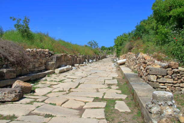 Old roman road in the ancient city of Side.