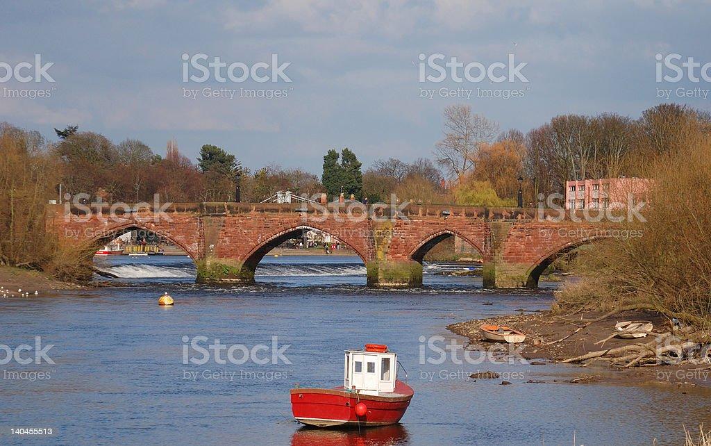 Old Roman Sandstone Arch Bridge royalty-free stock photo
