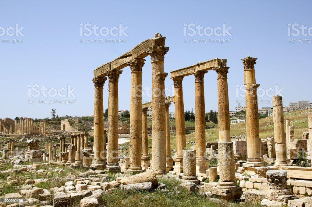 Old Roman street, Jerash, Jordan stock photo