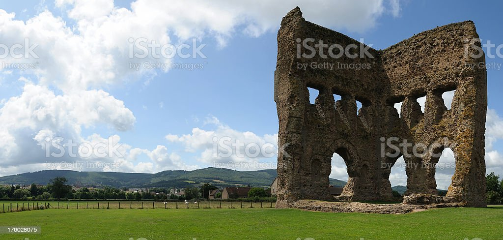 old roman temple in Autun, France stock photo