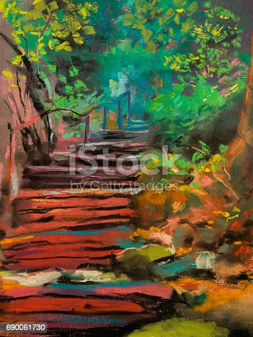 istock Old romantic forest staircase. Pastel illustration. 690061730