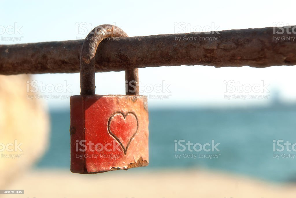 old romantic padlock stock photo