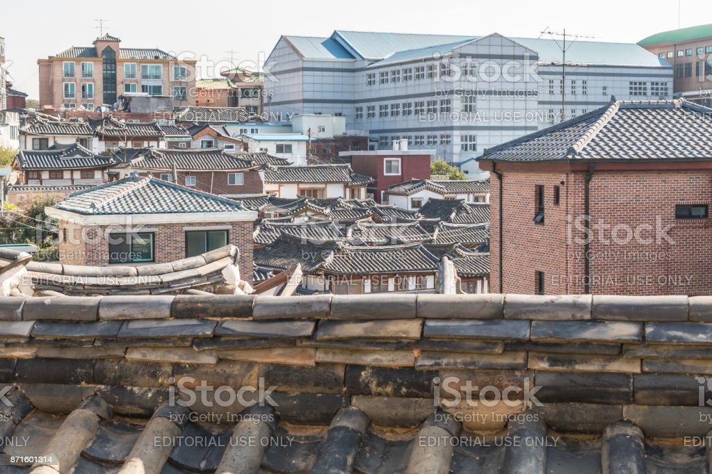Old roof line of Bukchon Hanok Village stock photo