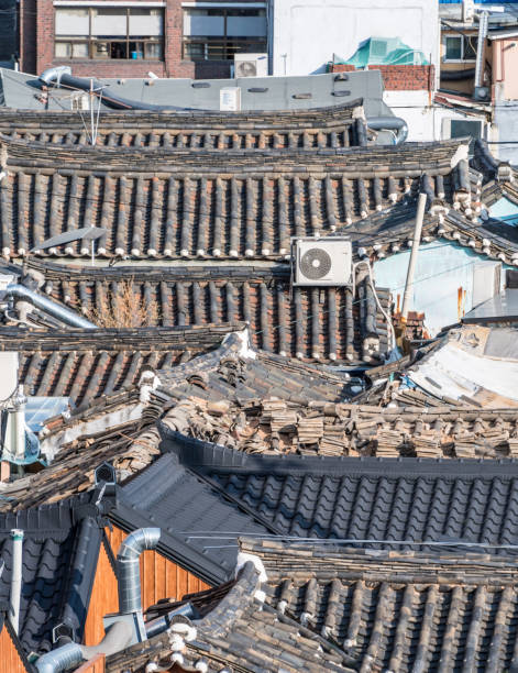 Old roof tiles in Insadong, Seoul, South Korea stock photo