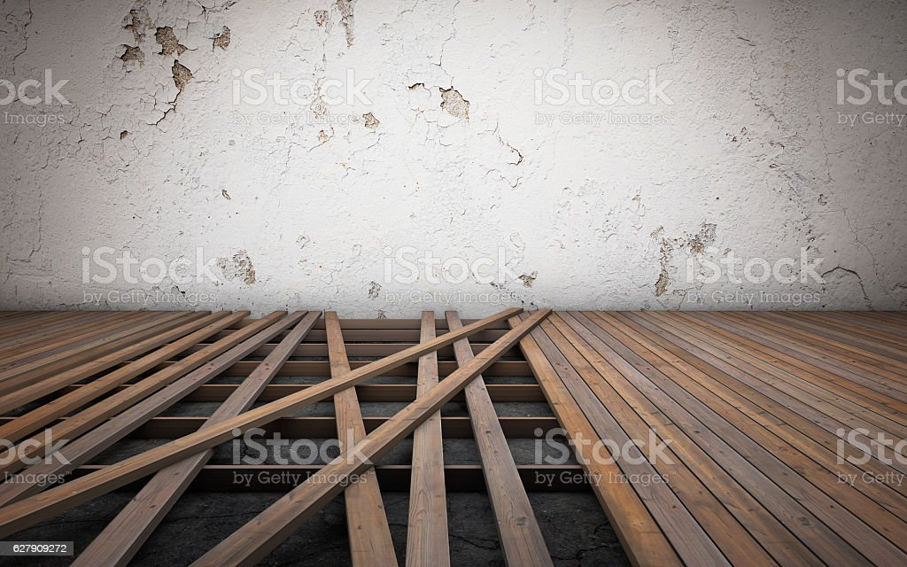 Old room repairing. Broken floor wood planks. 3d rendering stock photo