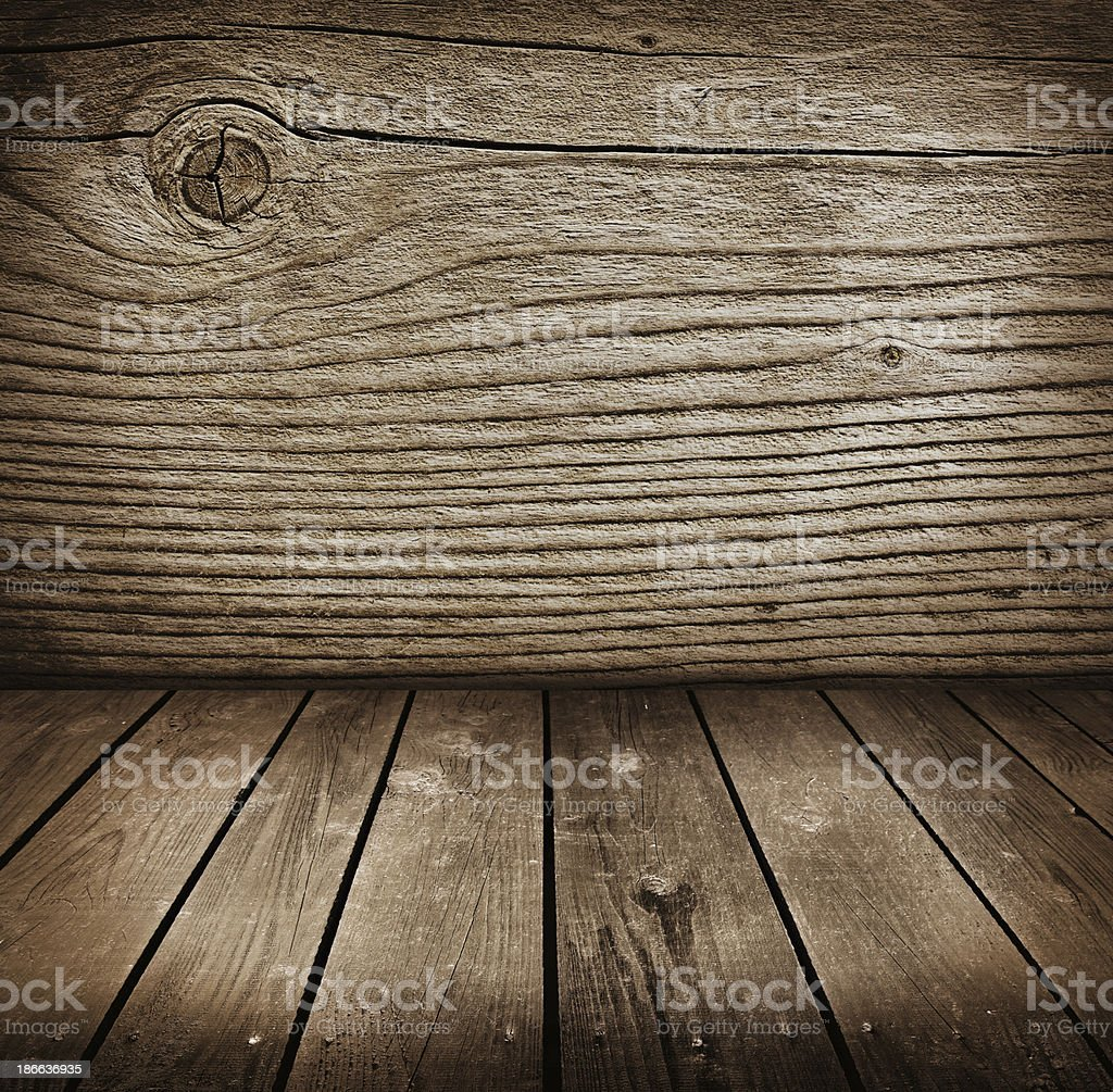 old room with wooden wall . stock photo