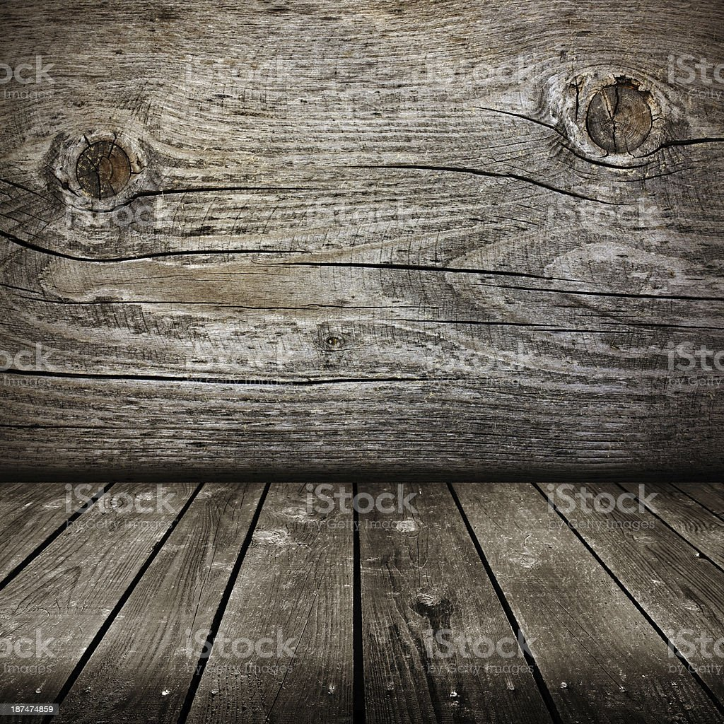 old room with wooden wall . royalty-free stock photo