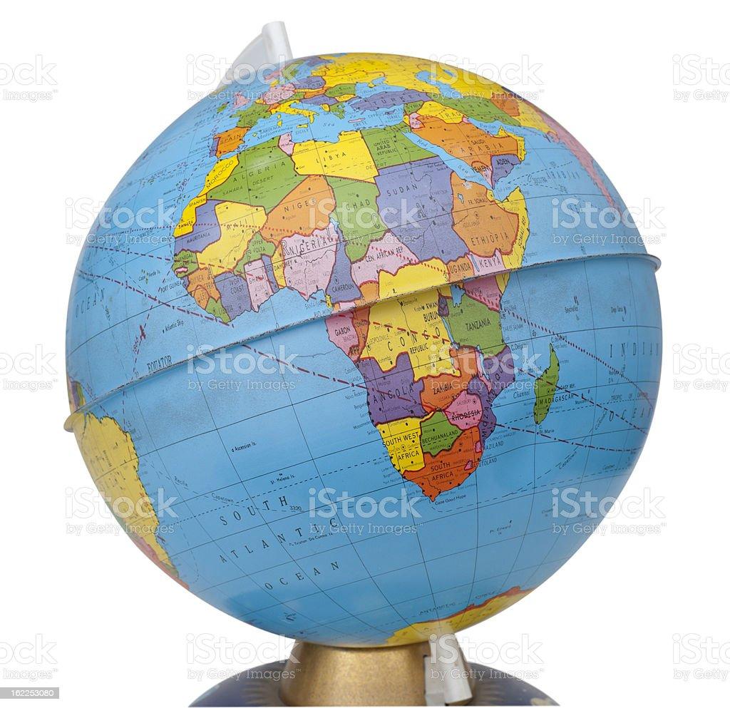 old rotating world map globe stock photo