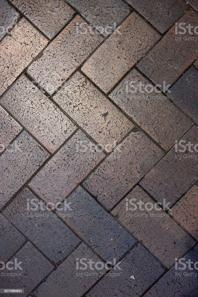 Old rough concrete tiled road stock photo