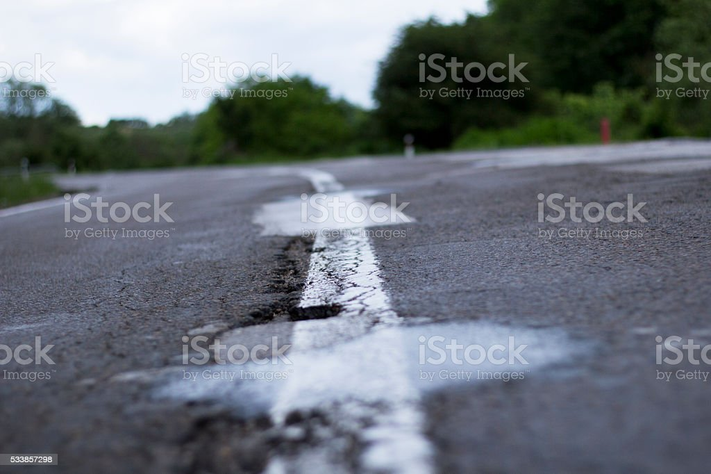 Old rough road stock photo
