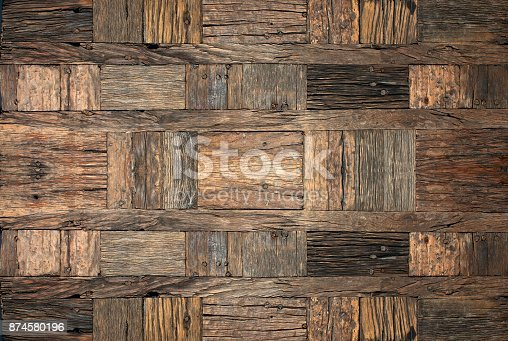 666644136 istock photo Old rough wooden background. 874580196