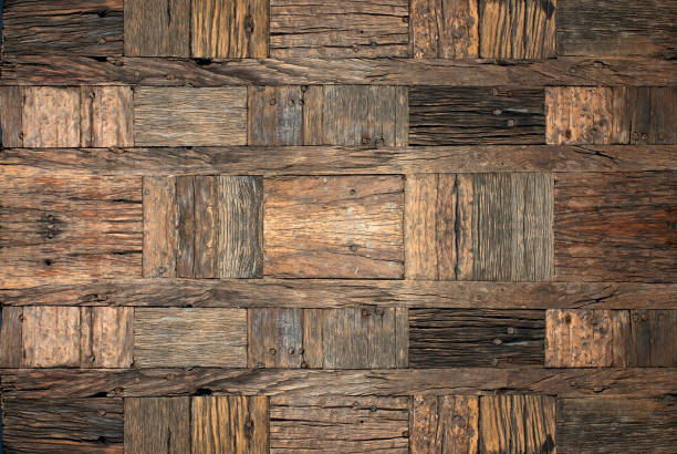 Old rough wooden background. stock photo