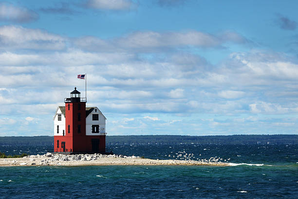 old round island point lighthouse - mackinac island stock photos and pictures