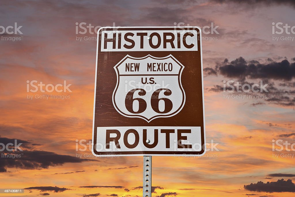 Old Route 66 New Mexico Sign With Sunset Sky stock photo