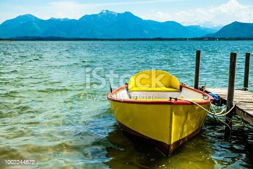 old row boats at a lake
