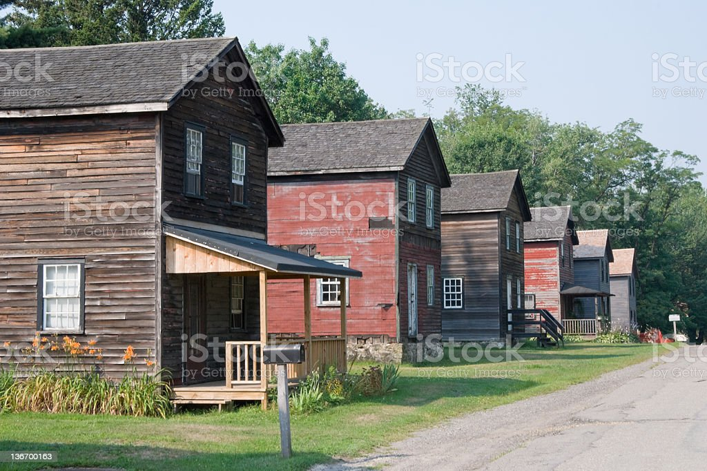 Old Row Houses, American Coal Mining Town Circa 1900 royalty-free stock photo