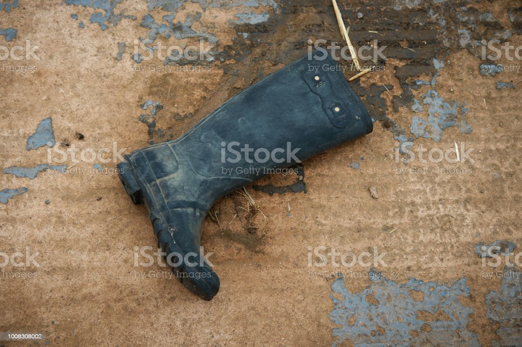 Old rubber boot . stock photo
