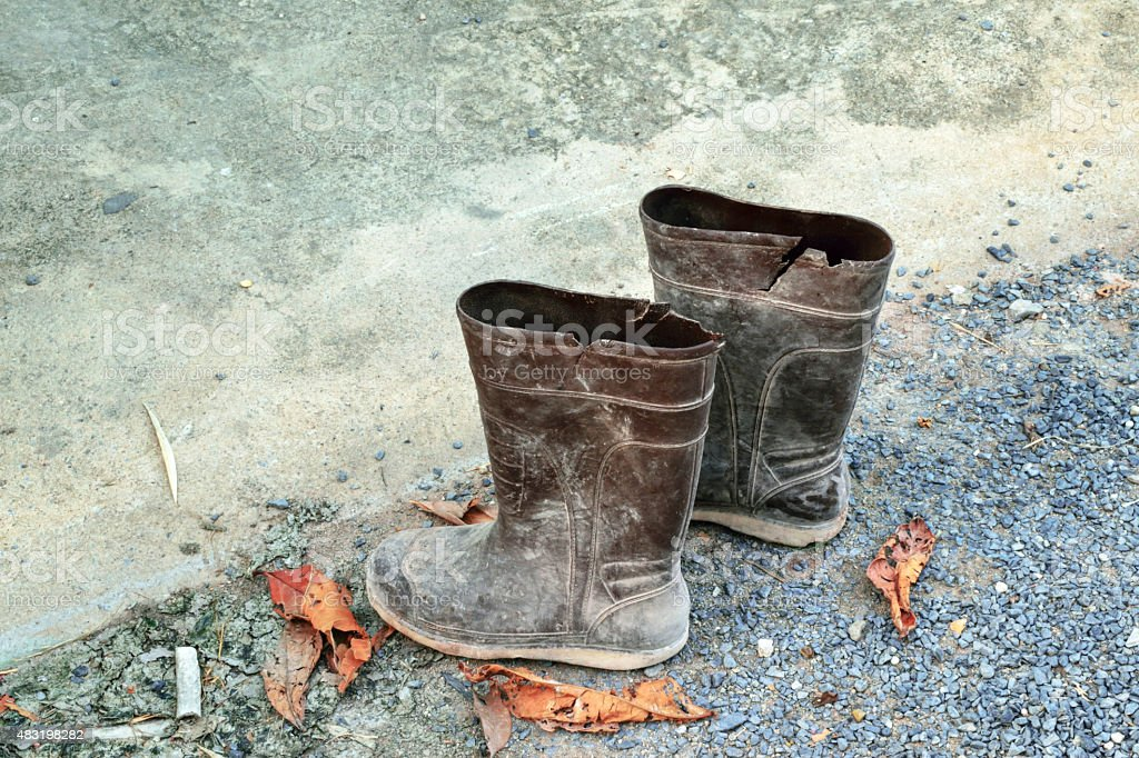 old rubber boots stock photo