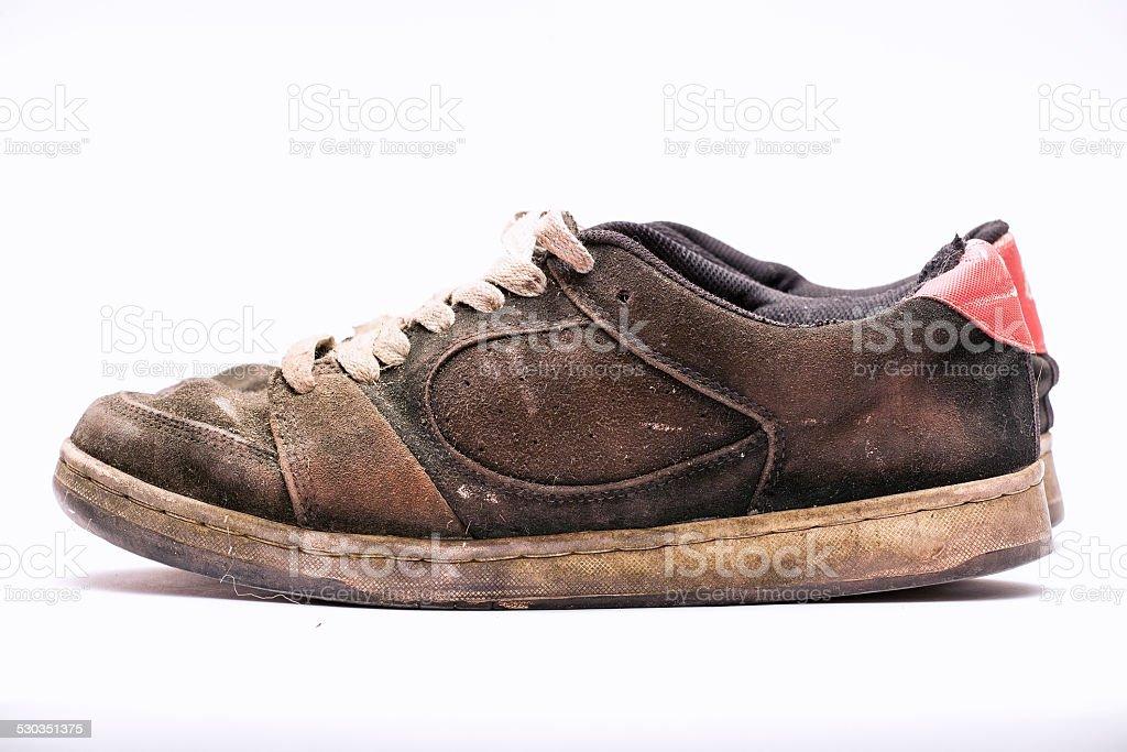 Old rugged shoe. stock photo
