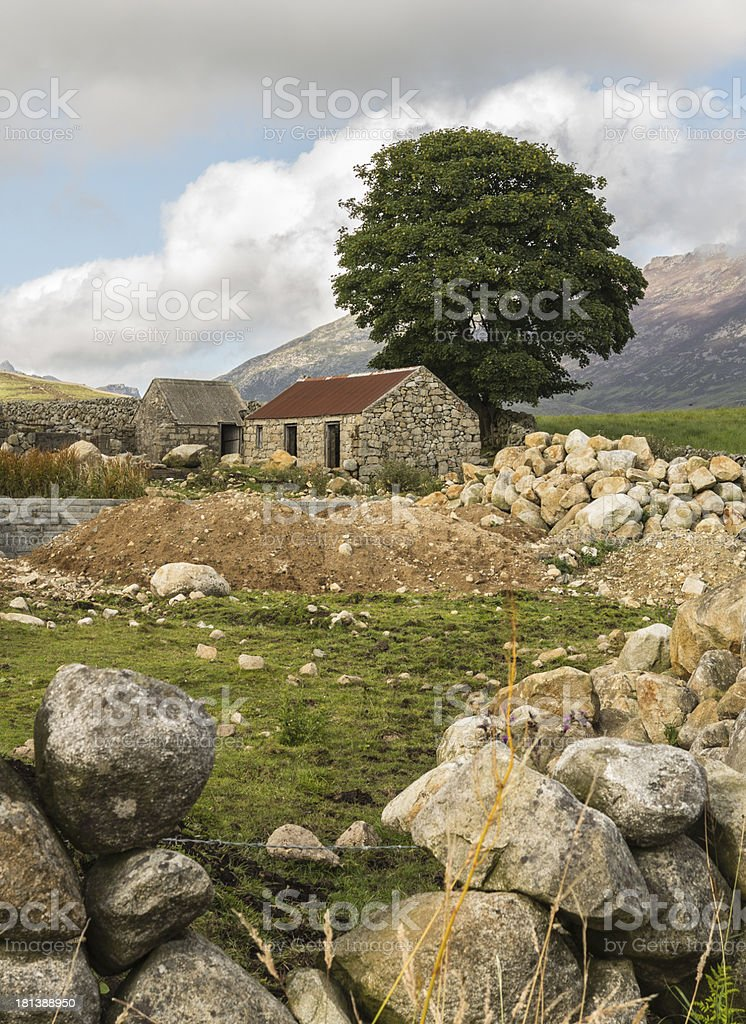 old ruin in the mournes stock photo