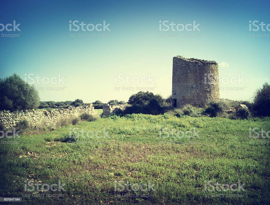 Old ruin of a windmill stock photo