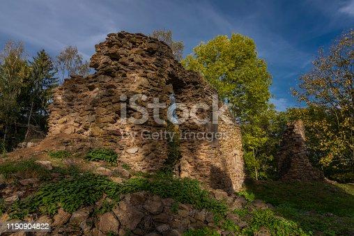 istock Old ruin of church of Saint Bartolomej near Besiny village in south Bohemia 1190904822