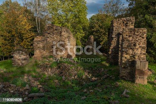 istock Old ruin of church of Saint Bartolomej near Besiny village in south Bohemia 1190904826